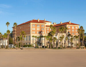 Exterior of Hotel Casa del Mar overlooking the ocean in Santa Monica.
